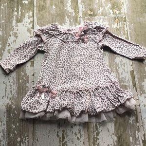 Biscotti pink and grey cheetah print dress